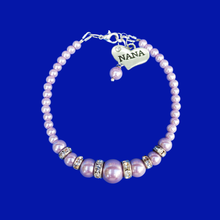Load image into Gallery viewer, handmade nana pearl and crystal charm bracelet, lavender purple or custom color