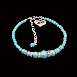 handmade nana pearl and crystal charm bracelet, aquamarine blue or custom color