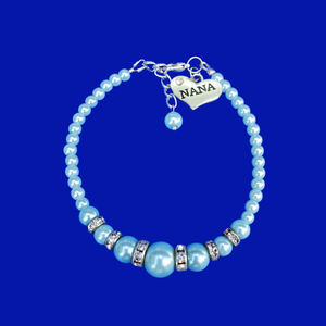 handmade nana pearl and crystal charm bracelet, light blue or custom color