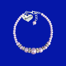 Load image into Gallery viewer, Auntie Gift Ideas - Auntie Bracelet - Auntie Jewelry, handmade auntie pearl and crystal charm bracelet, Lavender purple or custom color