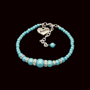 Auntie Gift Ideas - Auntie Bracelet - Auntie Jewelry, handmade auntie pearl and crystal charm bracelet, aquamarine blue or custom color