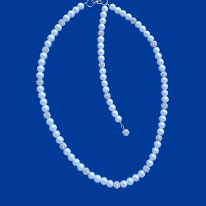 handmade pearl and crystal necklace withe a 5 inch backdrop