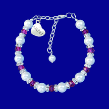 Load image into Gallery viewer, sister handmade pearl and swarovski crystal charm bracelet