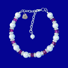 Load image into Gallery viewer, monogram pearl swarovski crystal charm bracelet, white and pink