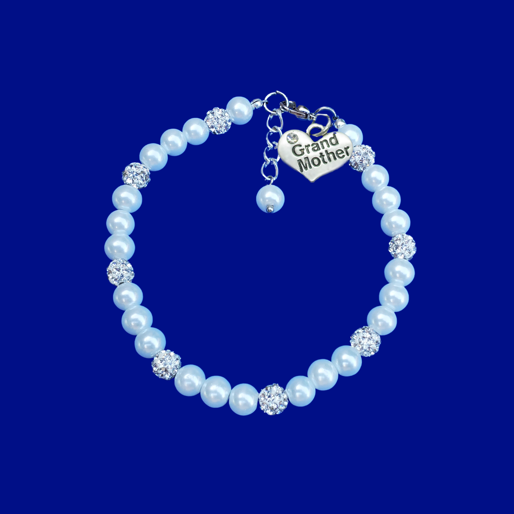 grand mother pearl and crystal charm bracelet