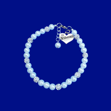 Load image into Gallery viewer, bridesmaid handmade pearl bracelet and crystal charm bracelet