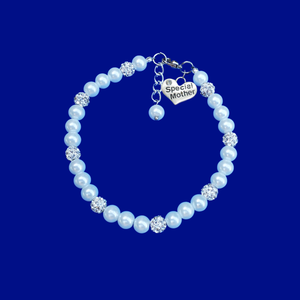 Special Mother pearl and crystal charm bracelet