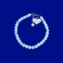 Load image into Gallery viewer, handmade best friend pearl crystal charm bracelet, white or custom color