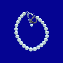Load image into Gallery viewer, Mother Pearl Charm Bracelet, white or custom color