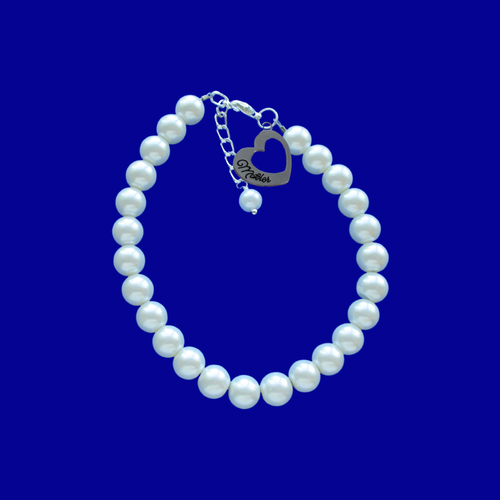 Mother Pearl Charm Bracelet, white or custom color