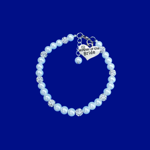 mother pearl crystal charm bracelet, silver and white or silver and custom color