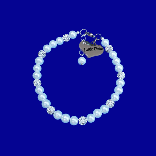 little sister pearl crystal charm bracelet, white or custom color