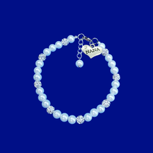 Load image into Gallery viewer, handmade nana pearl and crystal charm bracelet