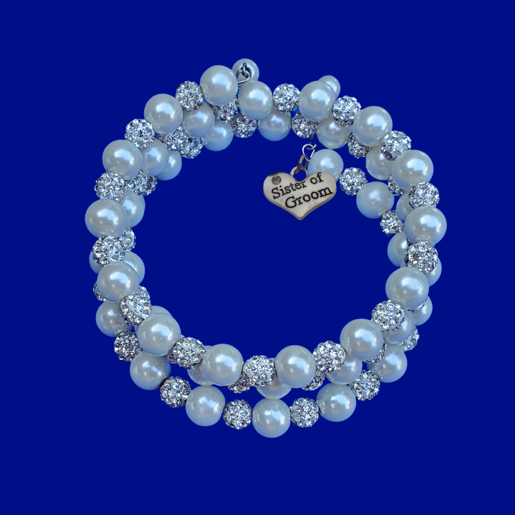 Sister of the Groom Expandable Multi Layer Wrap Pearl Crystal Charm Bracelet