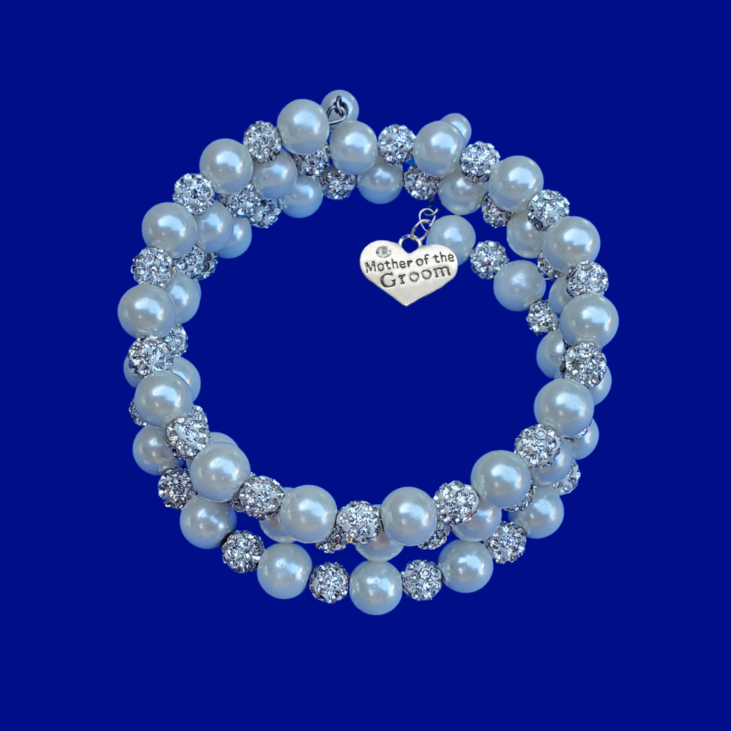Mother of the Groom handmade pearl and crystal expandable, multi-layer, wrap charm bracelet