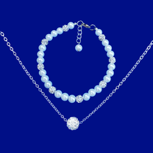 Load image into Gallery viewer, handmade floating crystal necklace accompanied by a pearl and crystal bracelet