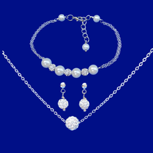 Load image into Gallery viewer, handmade floating crystal necklace accompanied by a pearl and crystal bar bracelet and a pair of stud earrings
