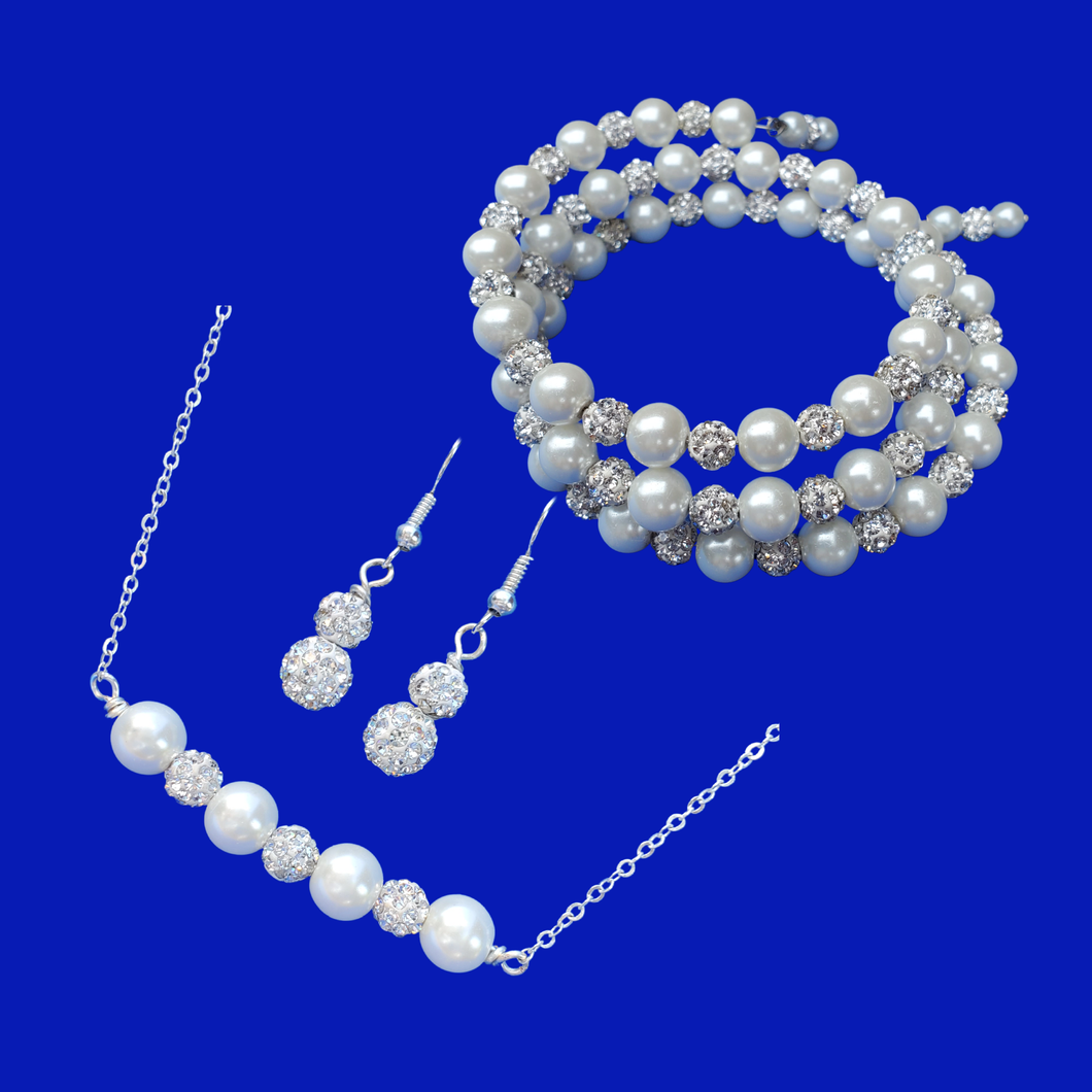 Jewelry Sets - Bridal Jewelry Set - Pearl Set, handmade pearl and crystal bar necklace accompanied by an expandable, multi-layer, wrap bracelet and a pair of crystal drop earrings