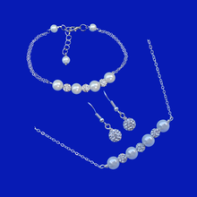 Load image into Gallery viewer, Necklace Set - Pearl Jewelry Set - Jewelry Set, pearl crystal bar necklace bar bracelet crystal earring jewelry set, white or custom color