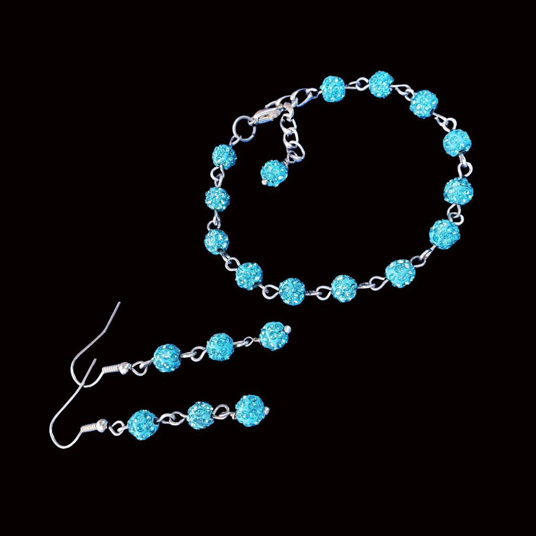 Bracelets Sets - Bridesmaid Gifts - Bridal Jewelry Set - handmade crystal bracelet accompanied by a pair of drop earrings, aquamarine blue or custom color