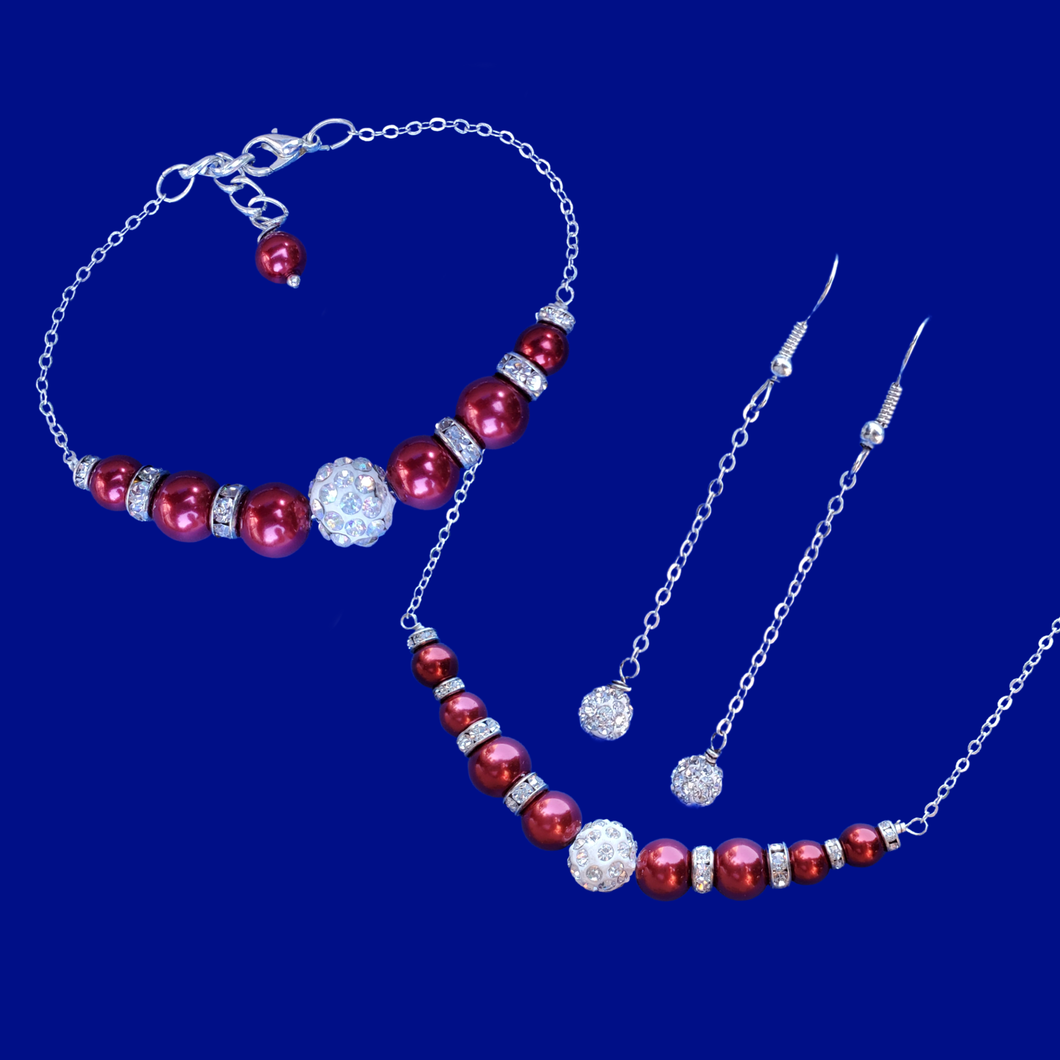 A handmade pearl and crystal bar necklace accompanied by a matching bar bracelet and a pair of crystal drop earrings. bordeaux red or custom color - Jewelry Sets - Bridesmaid Gift Ideas - Pearl Set