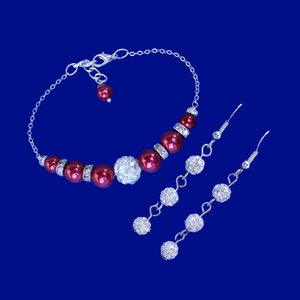 Earring Sets - Pearl Jewelry Set - Bracelet Sets, handmade pearl and crystal bar bracelet accompanied by a pair of crystal drop earrings, bordeaux red or custom color