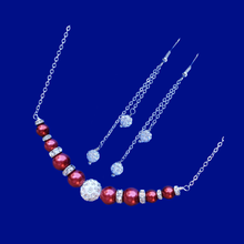 Load image into Gallery viewer, Pearl Jewelry Set - Necklace Set - Necklace And Earring Set, pearl and crystal bar necklace accompanied by a pair of multi-strand crystal drop earrings, bordeaux red or custom color