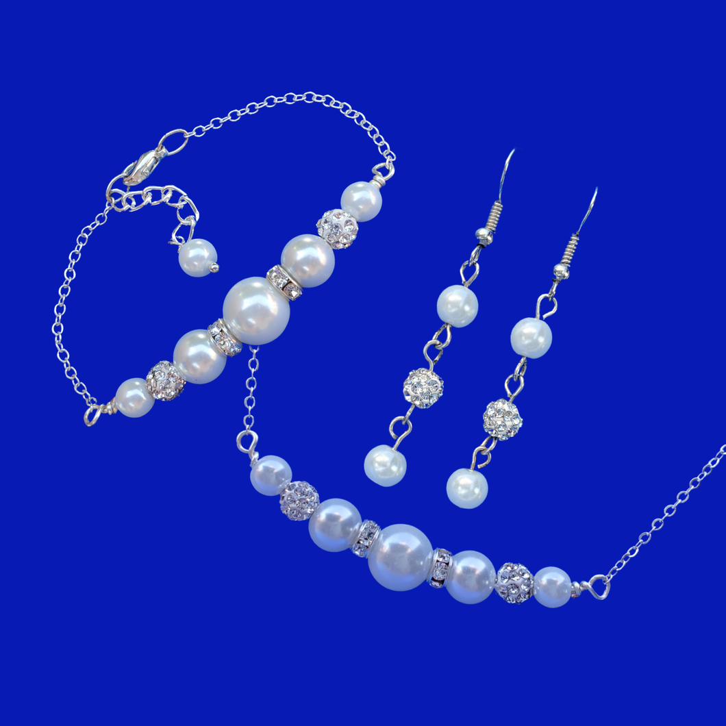 handmade pearl and crystal bar necklace accompanied by a matching bar bracelet and drop earrings