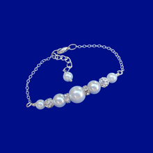 Load image into Gallery viewer, handmade pearl and crystal bar bracelet, white and silver or custom color