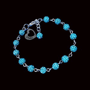 mother crystal charm bracelet, aquamarine blue or custom color