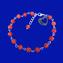 Load image into Gallery viewer, mother crystal charm bracelet. light siam or custom color