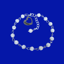 Load image into Gallery viewer, mother crystal charm bracelet, silver clear or custom color