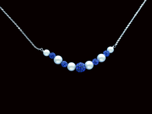 Load image into Gallery viewer, handmade pearl and crystal bar necklace