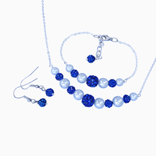 Load image into Gallery viewer, pearl and crystal bar necklace accompanied by a matching bracelet and a pair of crystal earrings