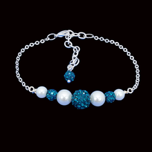 Load image into Gallery viewer, Pearl Bracelet - Bracelets - Gift Ideas for Women, pearl crystal dainty bar bracelet, blue or custom color