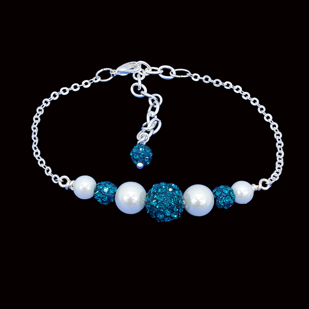 Pearl Bracelet - Bracelets - Gift Ideas for Women, pearl crystal dainty bar bracelet, blue or custom color