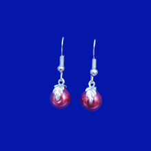 Load image into Gallery viewer, handmade pair of leaf accented pearl drop earrings