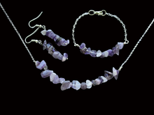 Load image into Gallery viewer, handmade amethyst chip bar necklace