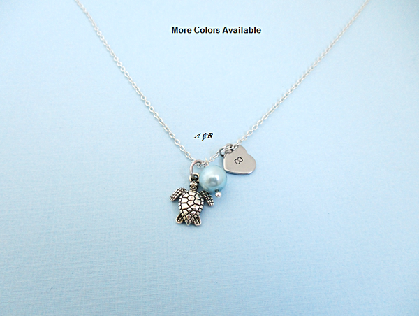 Monogram Turtle Pearl Charm Necklace