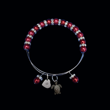 Load image into Gallery viewer, Personalized Initial Turtle Pearl Crystal Rhinestone Expandable Charm Bracelet, bordeaux red or custom color