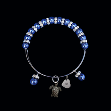 Load image into Gallery viewer, Personalized Initial Turtle Pearl Crystal Rhinestone Expandable Charm Bracelet, dark blue or custom color