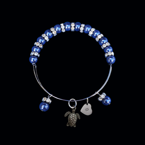 Personalized Initial Turtle Pearl Crystal Rhinestone Expandable Charm Bracelet, dark blue or custom color