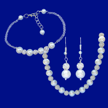 Load image into Gallery viewer, handmade pearl and crystal necklace accompanied by a bar bracelet and a pair of drop earrings, white and silver clear or custom color - Bridesmaid Jewelry - Jewelry Sets - Necklace Set