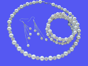 Pearl Jewelry Set - Necklace Set - Jewelry Set, handmade pearl and crystal necklace accompanied by an expandable, multi-layer, wrap bracelet and a pair of multi-strand drop earrings, white and silver clear or custom color