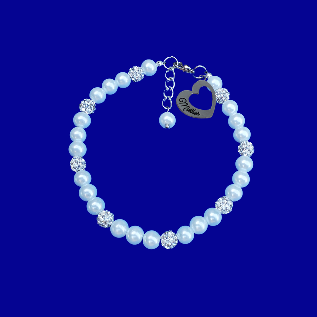 mother pearl and crystal charm bracelet
