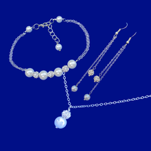 Load image into Gallery viewer, handmade pearl and crystal drop necklace accompanied by a bar bracelet and a pair of multi-strand drop earrings