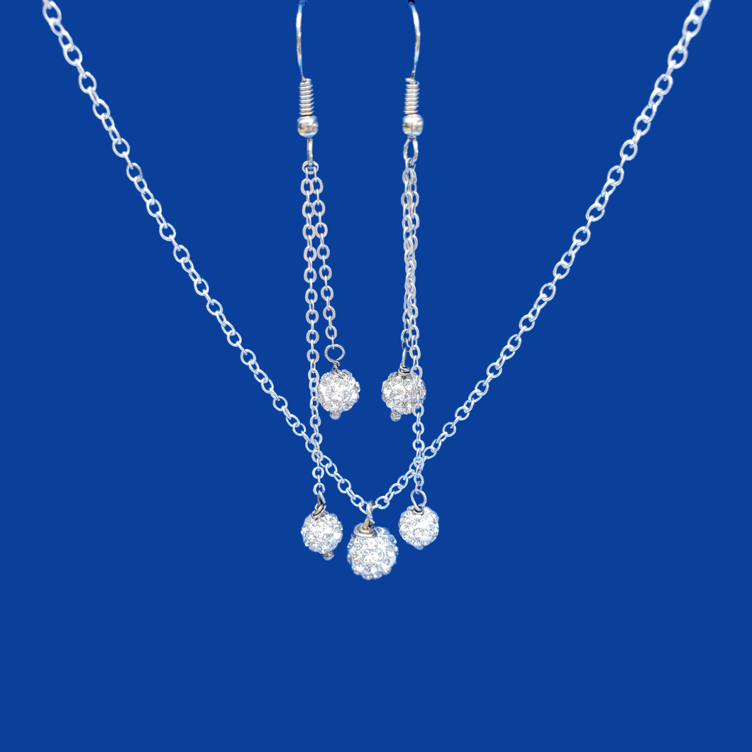 handmade crystal drop necklace accompanied by a matching pair of multi-strand drop earrings