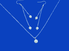 Load image into Gallery viewer, handmade crystal drop necklace accompanied by a matching pair of multi-strand drop earrings