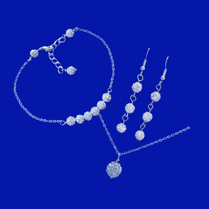 handmade crystal drop necklace accompanied by a bar bracelet and a pair of drop earrings, silver clear or custom color