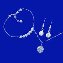 Load image into Gallery viewer, Pearl Jewelry Set - Earrings Set - Bracelet Sets, handmade crystal drop necklace accompanied by a bar bracelet and a pair of drop earrings, silver clear or custom color